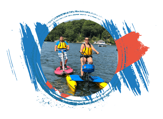 Man and woman on hydrobike on Lake Hopatcong