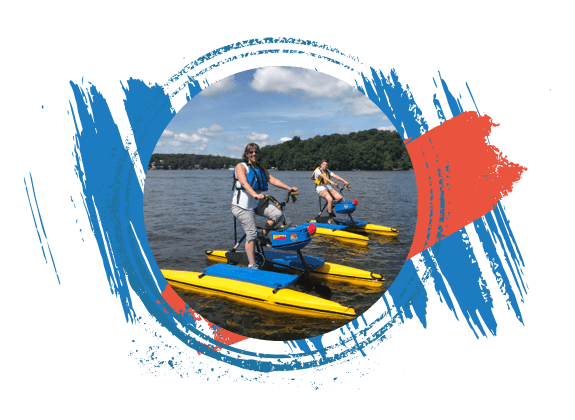 Women happily riding hydrobikes on Lake Hopatcong