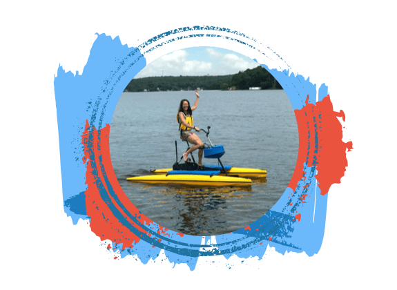 Woman on hydrobike on Lake Hopatcong