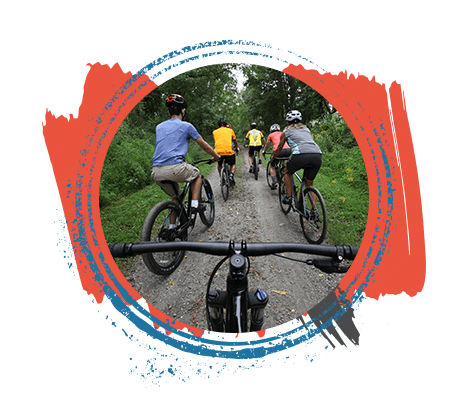 group of bikers biking Hopatcong trails