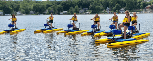 Group riding hydrobikes on Lake Hopatcong